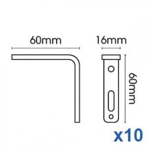 Smart fix 60mm Bracket only in White and Silver (pack of 10)