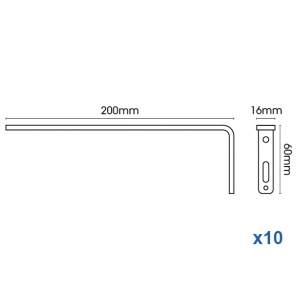 Smart fix 200mm Bracket only in White and Silver (pack of 10)