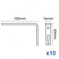 Smart fix 100mm Bracket Slotted for Metropole & Metroflat (pack of 10)