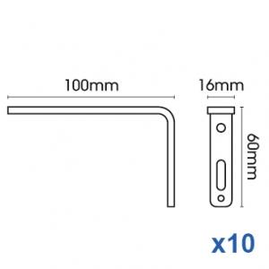 Smart fix 100mm Bracket Slotted for Metropole & Metroflat (pack of 10)