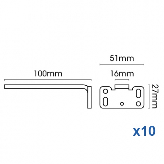 Square Smart fix 100mm Bracket only in White and Silver (pack of 10)