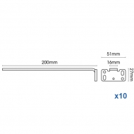 Square Smart fix 200mm Bracket only in White and Silver (pack of 10)