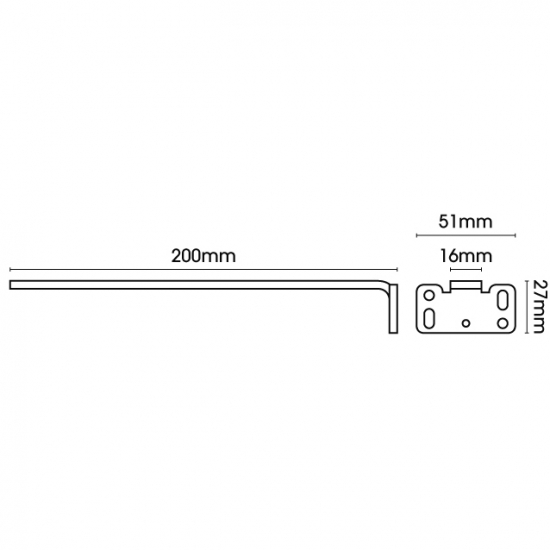 Square Smart fix 200mm Bracket only in White and Silver (Each)