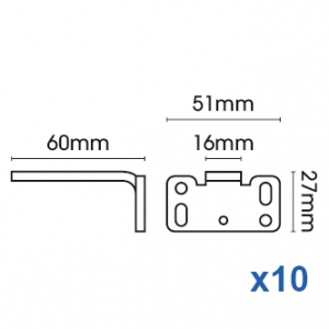 Square Smart fix 60mm Bracket Slotted for Metropole & Metroflat (pack of 10)