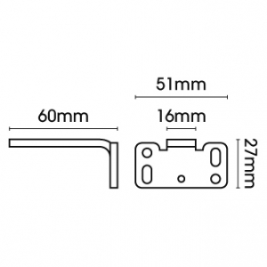 Square Smart fix 60mm Bracket Slotted for Metropole & Metroflat (Each)