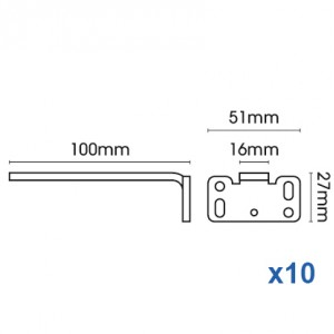 Square Smart fix 100mm Bracket Slotted for Metropole & Metroflat (pack of 10)