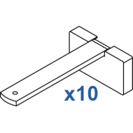 Square Smart fix 100mm Bracket Set in White and Silver (pack of 10) (made up of parts 11141 + 11137)