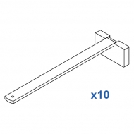 Square Smart fix 200mm Bracket Set in White and Silver (pack of 10) (made up of parts 11144 + 11137)