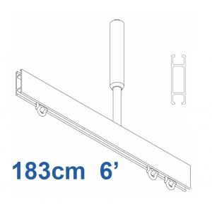 1085 Shower Rail  Straight  in Silver (Reversible) 183cm  6' (DISCONTINUED April 2019)
