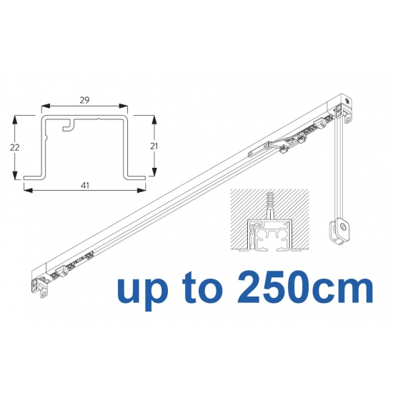 3870 corded & 3870 Wave corded, recess systems (White only) up to 250cm Complete
