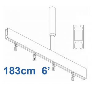 6100 Shower Rail  Straight  in Silver 183cm  6'
