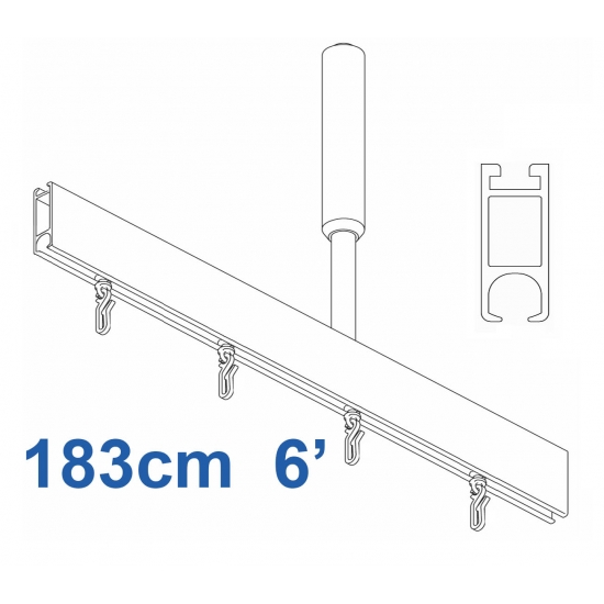 6100 Shower Rail  Straight  in Silver 183cm  6'