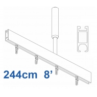 6100 Shower Rail Rail Straight  in Silver 244cm  8'