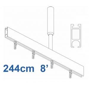 6100 Shower Rail Rail Straight  in Silver 244cm  8'