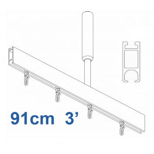 6100 Shower Rail Straight  in Silver 91cm  3'