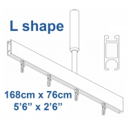 6100 Shower Rail  L shape in Silver  168cm x 76cm