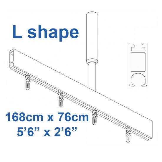6100 Shower Rail  L shape in Silver  168cm x 76cm