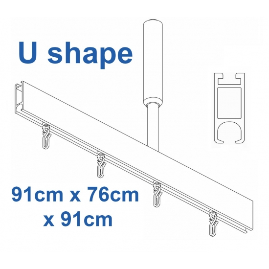 6100 Shower Rail U shape in Silver  91cm x 76cm x 91cm