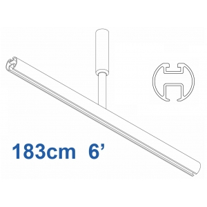 6103 Shower Rail  Straight in White 183cm  6'