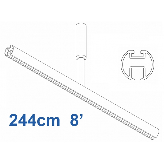6103 Shower Rail  Straight in White  244cm  8'
