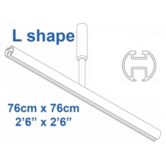 6103 Shower Rail  L shape in White  76cm x 76cm