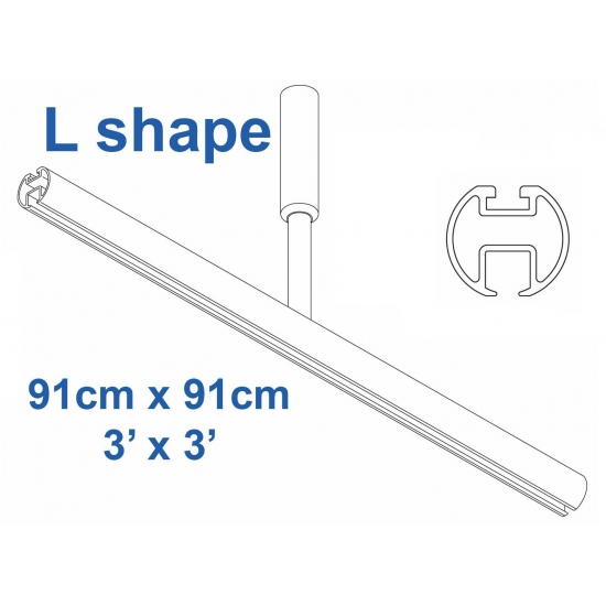 6103 Shower Rail  L shape in White  91cm x 91cm  3' x 3'