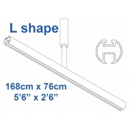6103 Shower Rail  L shape in White 168cm x 76cm