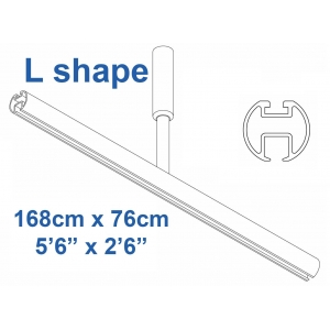 6103 Shower Rail  L shape in White 168cm x 76cm