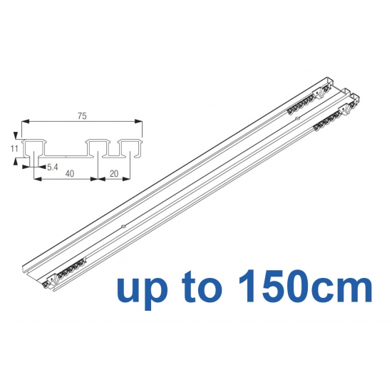 6293 Hand operated triple track system (White only)  up to 150cm Complete