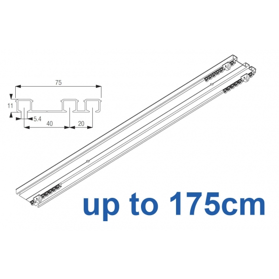6293 Hand operated triple track system (White only)  up to 175cm Complete