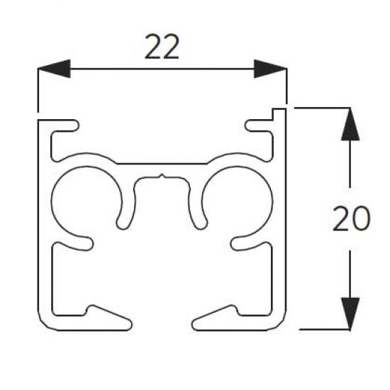 Profile Silver and White  (per metre)