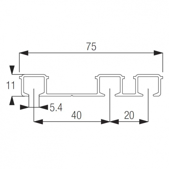Profile Triple channel (per metre)