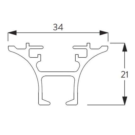 6821 Funnel Rail ONLY White (per metre)